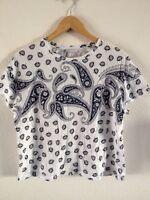 Zara Cotton T Shirt Top Size M Short Length White/Navy Blue <R11614
