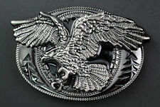 GUN METAL & BLACK EAGLE BELT BUCKLE METAL