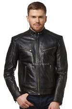 Men's Leather Jacket Black Retro Biker Soft Lambskin Motorcycle Style 1829