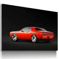 DODGE CHALLENGER RED SUPER Sports Car Wall Art Canvas Picture AU688 UNFRAMED