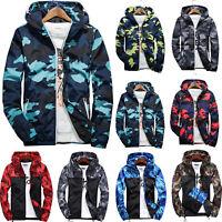 Mens Fall Winter Camo Windbreaker Hoodie Hooded Sweatshirt Jacket Coat Outwear