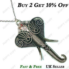 Vintage Style Silver INDIAN ELEPHANT Statement Exaggerated Long Necklace Pendant