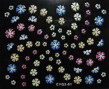 Accessoire ongles : nail art- Stickers autocollants -motifs fleurs multicolores