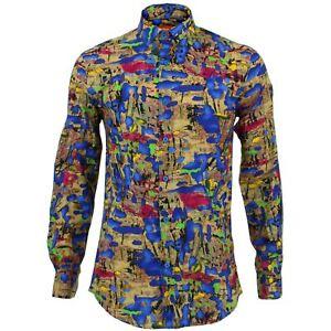 Mens Shirt Loud Originals TAILORED FIT Blots Blue Retro Psychedelic Fancy