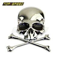 Chrome 3D Motorcycle Car Alloy Flag Skull Cross Bone Emblem Badge Decal Sticker