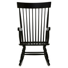 Premier Housewares Black Solid Wood Rocking Chair Vintage Style Relaxing Stool