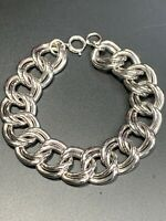 Vintage Wide Intricate Link Chrome Silver Open Double Link Bracelet Clasp 7.5""