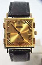 NOS 18K Gold JUVENIA MACHO Mens 25J AUTOMATIC Watch 8902 Gold Dial & 4Bars Case