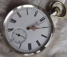 Ulysse Nardin Pocket Watch Open Face silver case enamel dial 50 mm. in diameter