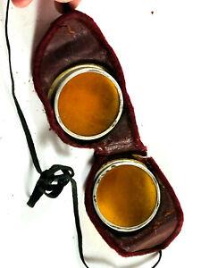 Antique vtg Yellow Orange Glass goggles leather velvet motorcycle aviator