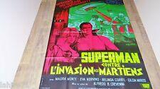 SUPERMAN contre l'invasion des martiens ! rare affiche cinema DC comics bd 1965