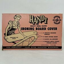 Vtg 1950s Handi Heavy Drill Cloth Ironing Board Cover w/ Lacing ~ Nos In Box ~