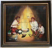 Oil Painting In Wood Framed Titled Indian Home Signed By Artist Nicholas Reanda