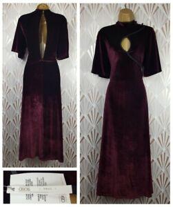 Bnwt Asos Long Dress Size 12 Tall Keyhole Purple Velvet Open Back Party Evening