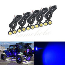 10x LED Rock Blue Round Button Lights Truck Eagle Eye Side Marker Lights Lamp
