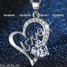 925 Sterling Silver Crystal Diamond Heart Necklace Pendant Jewellery Gift Xmas
