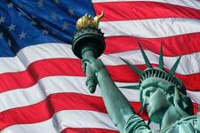 Statue of Liberty Against American Flag Patriotic Art Print Poster 24x36 inch