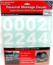 62831 NUMBERS & SYMBOLS PERSONAL MESSAGE DECAL STICKER SHEET WHITE ARIAL CUSTOM