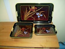3  Black Lacquer Plastic Serving Trays with floral design