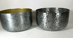 """2 Lot Decorative Candle Holders Bowls 3"""" Deep 5-1/2"""" Diameter Silver Multi-use"""