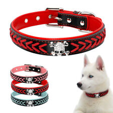 Soft Padded Braided Leather Dog Collars Cool Skull Studded for Medium Large Dogs