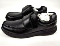 Nunn Bush Cam Moc Toe Strap Mens Slip On Black Leather Shoes Size 9.5 M New