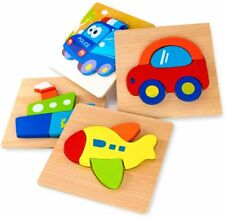 Wooden Vehicle Puzzles for Toddlers 1 2 3 Years Old, Boys &Girls Educational Toy