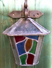 VINTAGE PETER MARSH STYLE LEADED STAINED GLASS LAMP LANTERN LIGHT - WIRED