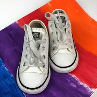 Converse All Star Leather Infant Toddler Size 7 Boy's/Girl's White Shoes