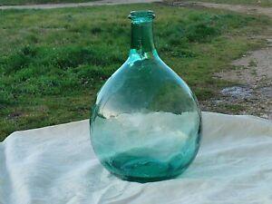 Ancienne petite Bonbonne * Dame Jeanne * Verre bullé 5 litres (n°60)