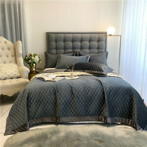 2020 Luxury Velvet Soft Bedspread Coverlet Grey Quilted Bed Spread Pillow Shams
