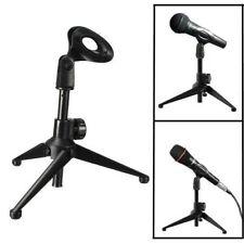 Table Microphone Tripod Stand Adjustable Metal DesktopMic Clamp Clip Holder EFF