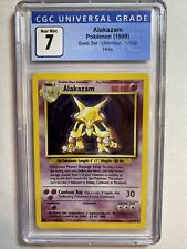 1999 Pokemon Alakazam 1/102 Base Set Unlimited Holo Card 1999 CGC 7 Near Mint