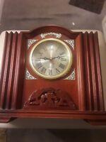 Antique Quartz mantel clock battery operated gold Trim cherry wood carved animal