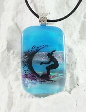 Catch a Wave Handmade Crafted Art Dichroic Fused Glass Pendant with Necklace