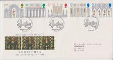 GB Royal Mail FDC 1989 Navidad Ely sello conjunto mesa PMK Po Pegatina