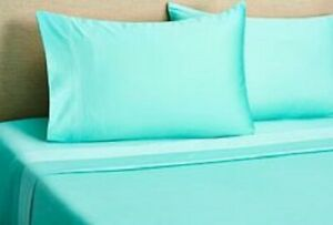 Aqua Solid King 4 Piece Bed Sheet Set 1000 Thread Count 100% Egyptian Cotton