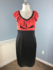 BCBG max Cleo Coral Pink Black Ruffle Sheath Dress Cocktail party 8 10 satin WOW