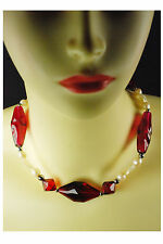 "Vintage 28"" Necklace With Raspberry Inflated Plastic."