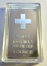 """1 Ounce """"SWISS"""" Ingot Finished in 999 Fine Silver in Acrylic Capsule"""