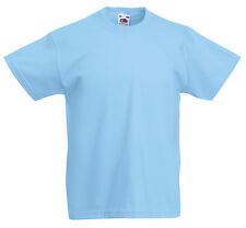 FRUIT OF THE LOOM PLAIN LIGHT BLUE CHILDS BOYS GIRLS T SHIRT ALL SIZES SS031
