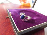 Wunderhübscher 925 Silber Ring Blau Email Emaille Sterling Vintage Schlicht