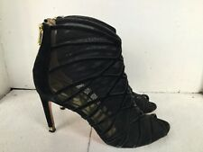 Ted Baker black ankle boots zip suede leather booties heels open toe shoes 8.5