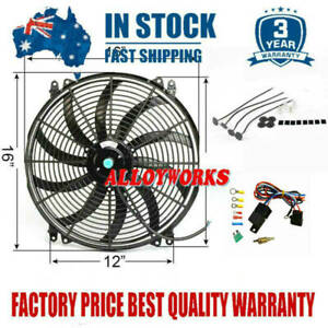 """16""""Inch 12V Radiator Reversible Electric Thermo Fan Pull Push Curved Blade+Relay"""