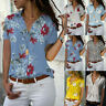 Plus Size Womens Short Sleeve Floral Shirts Blouse Ladies Casual Summer Top