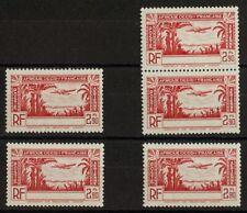 Costa de Marfil, Aéreo. MNH **Yv 2a(5). 1940. 2´90 f rojo, cinco sellos. Sin le