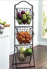 Kitchen Basket Rack Holder Fruit Vegetable 3 Tier Storage Stand Display Black