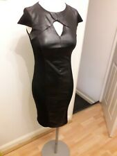 Ladies Primark fitted Dress Black, Size 8, Faux Leather panel stretch bodycon