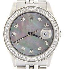 Rolex Datejust Mens Stainless Steel Watch w/ Tahitian MOP Diamond Dial 1ct Bezel