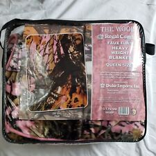 New The Woods Camo Collection Cashmere Fleece Blanket Pink Soft Queen Size